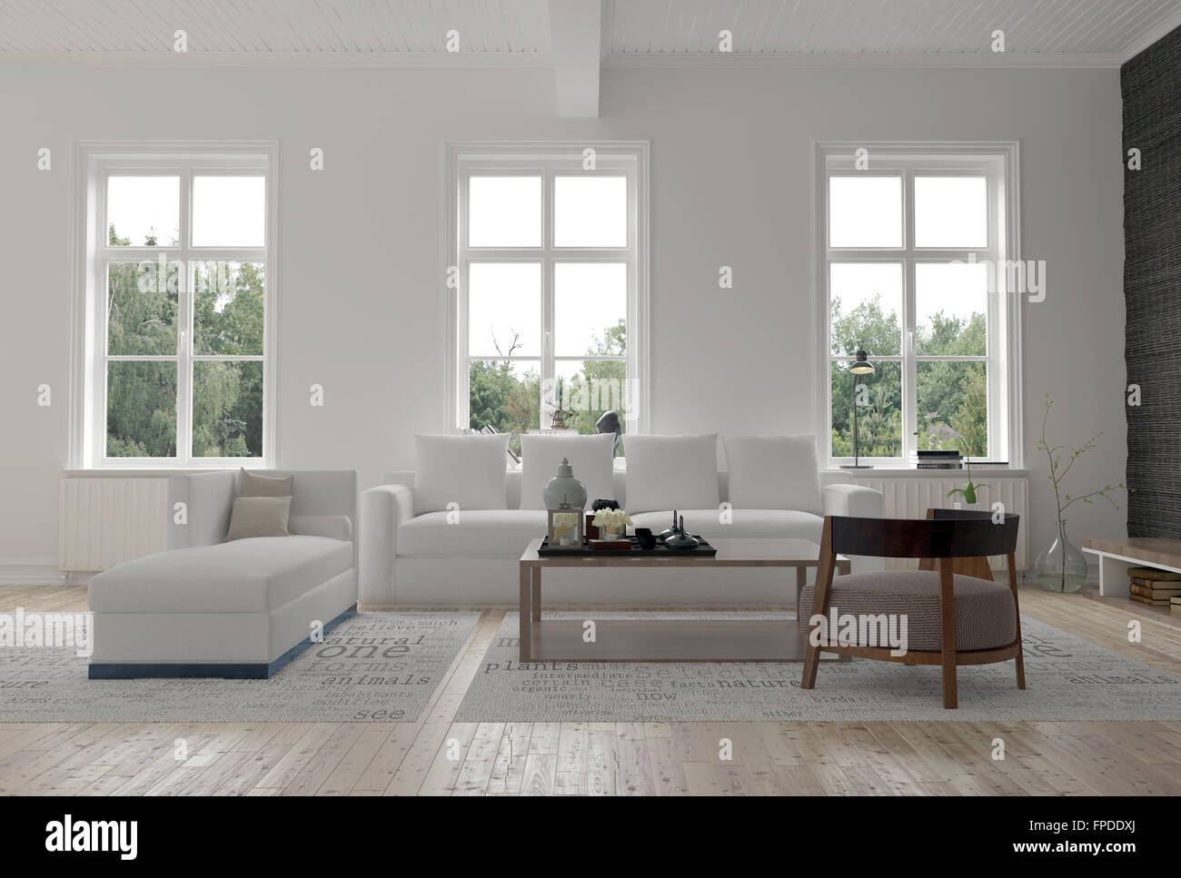 Light Bright Modern Living Room Interior With Three Large Windows Stock Photo Alamy