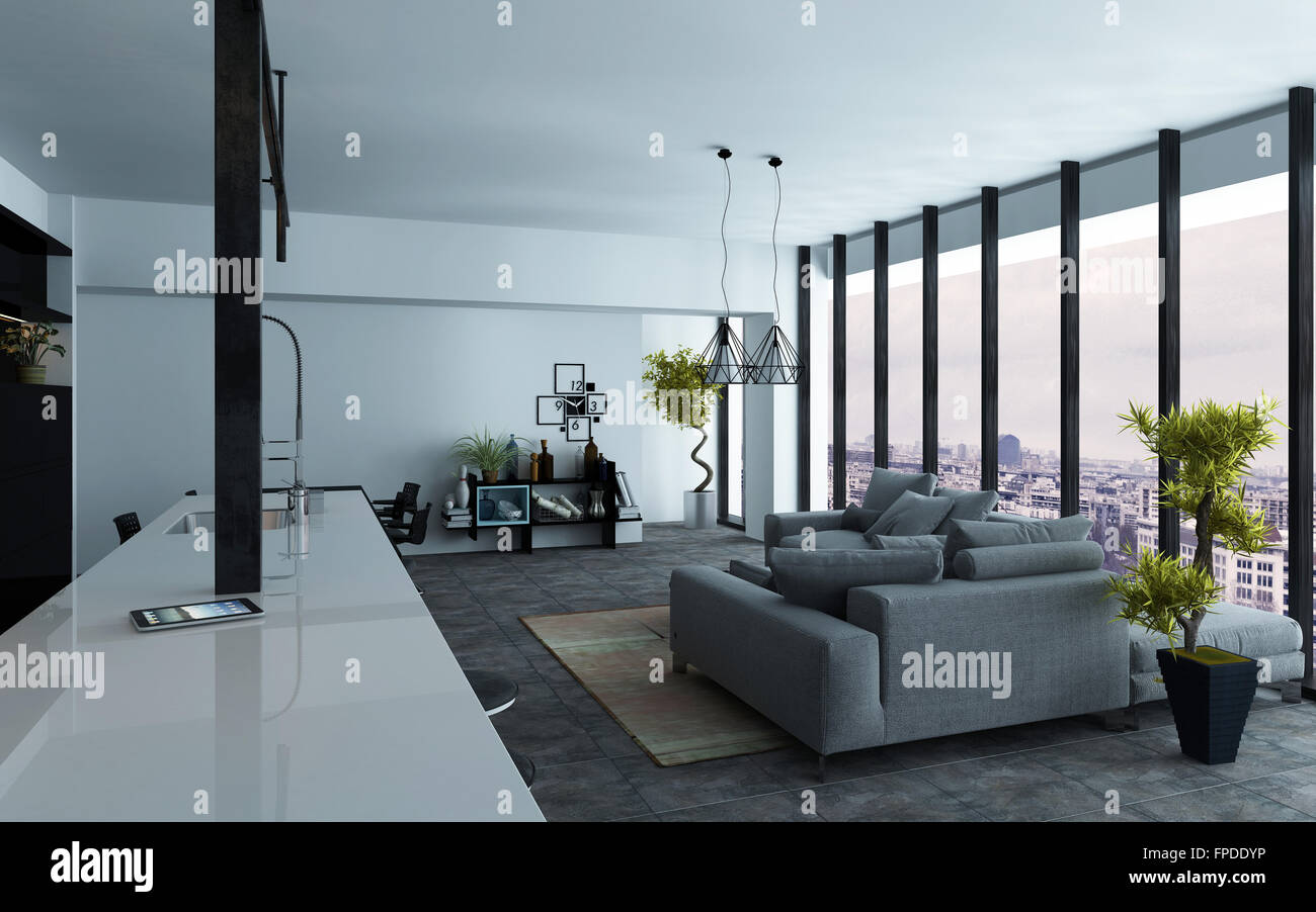 Large open-plan living room interior with panoramic view windows and ...