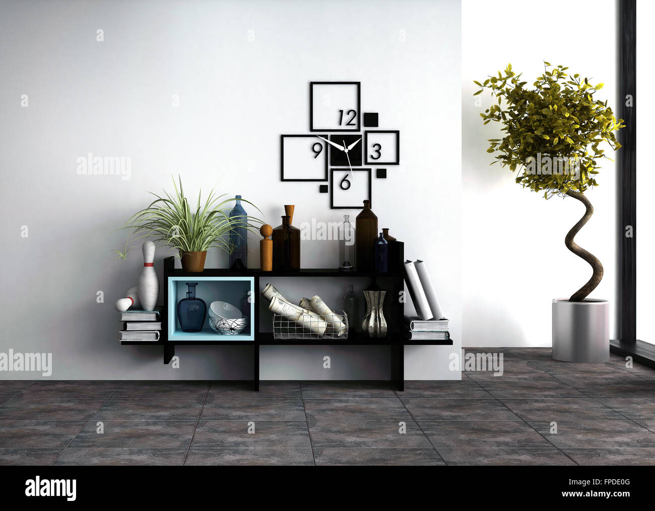 Wall Mounted Shelves With Personal Effects And A Designer Clock In A Modern  Living Room Interior With A Potted Spiral Twist Topi