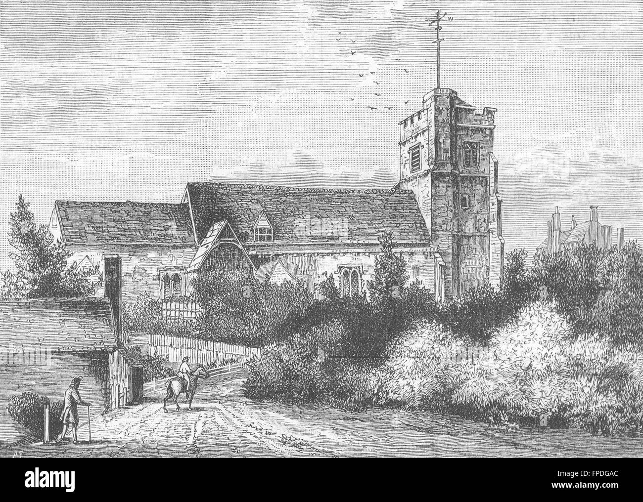 PINNER: Pinner Church in 1800 (from an old print), antique print 1888 - Stock Image