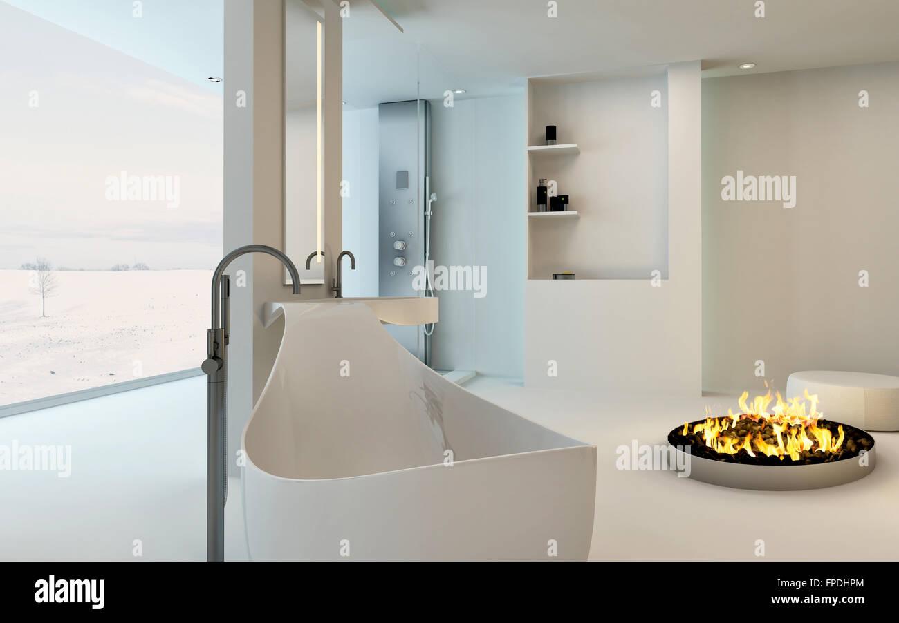 Modern Design Bathroom Interior With Unusual Shaped Bathtub