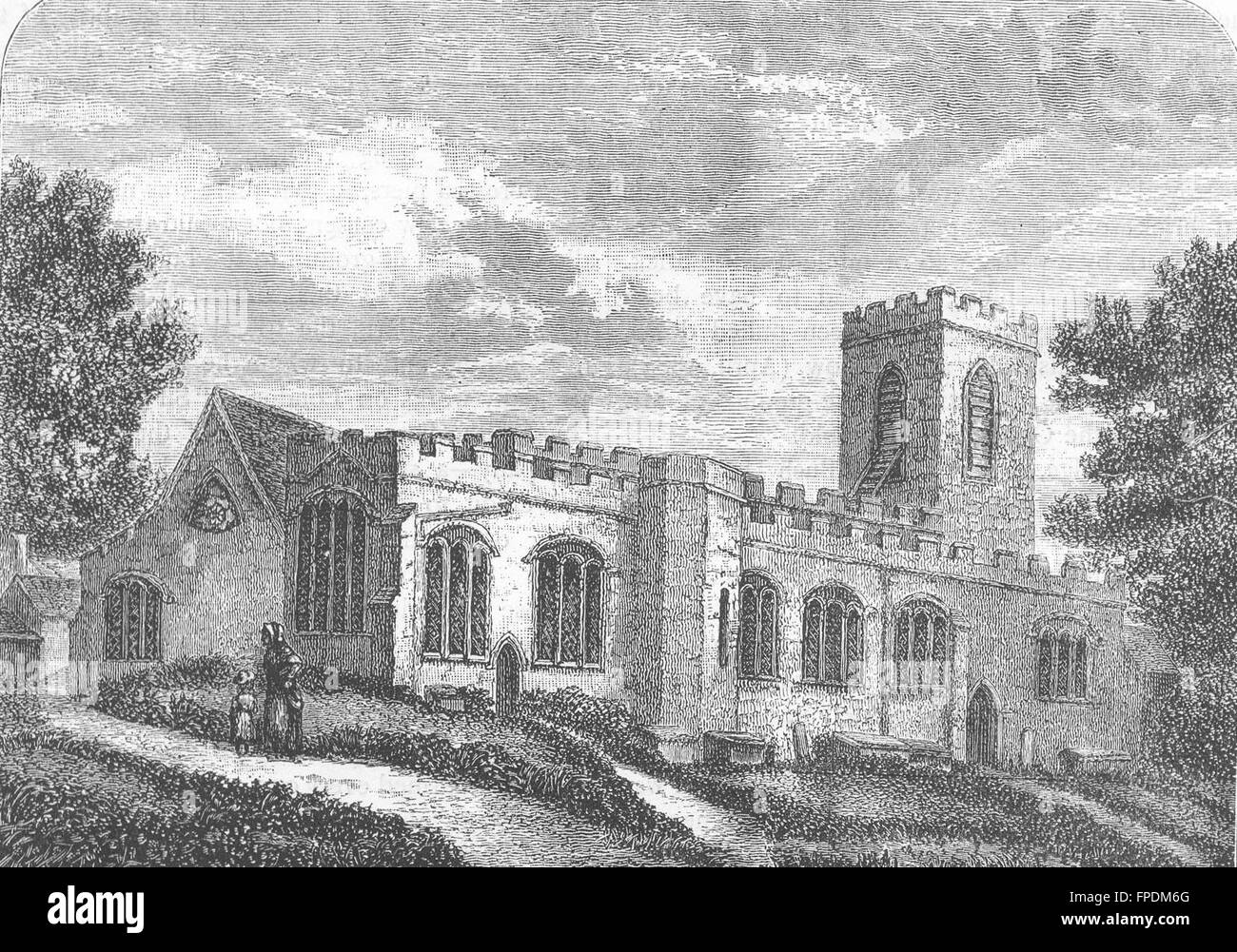 MIDDLESEX: Enfield Church (from an old print, 1827), antique print 1888 - Stock Image