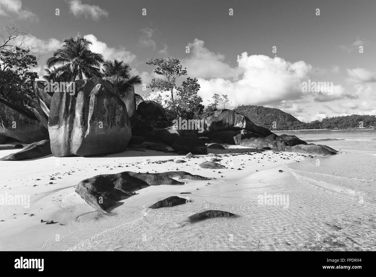 Large Rock Formations on Isolated Beach Paradise at Anse Lislette, Seychelles - Stock Image