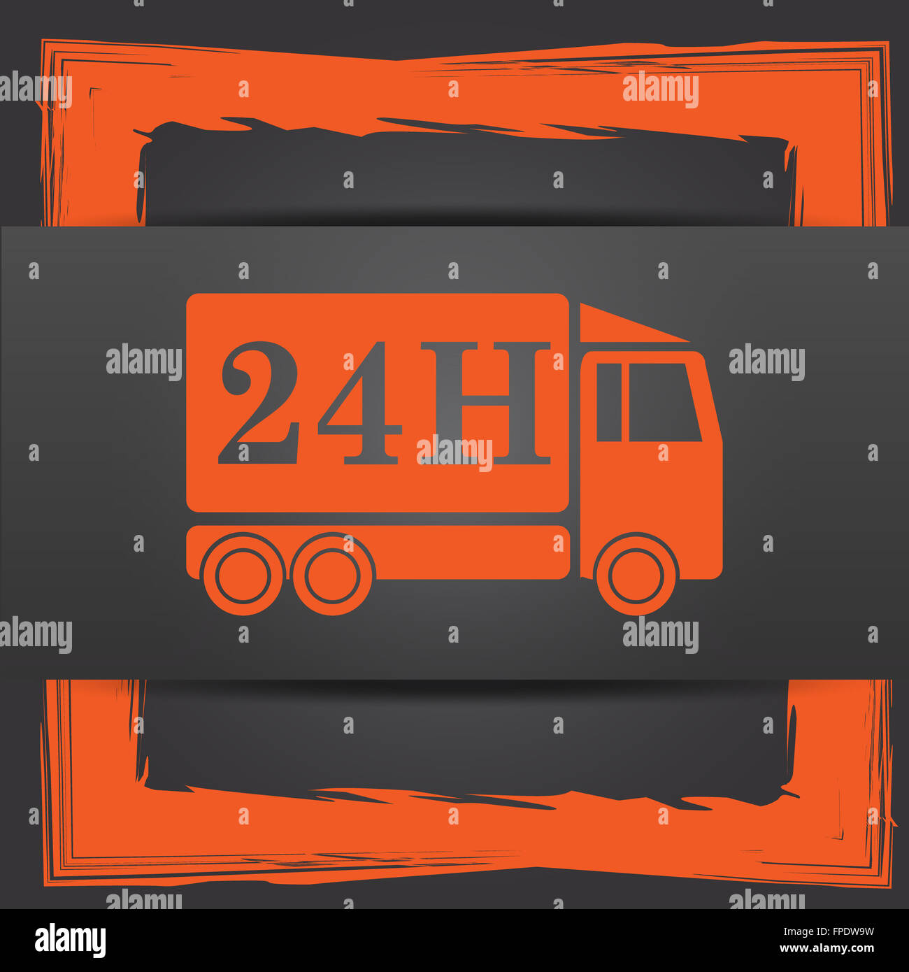 24h Delivery Truck Icon Internet Button On Grey Background