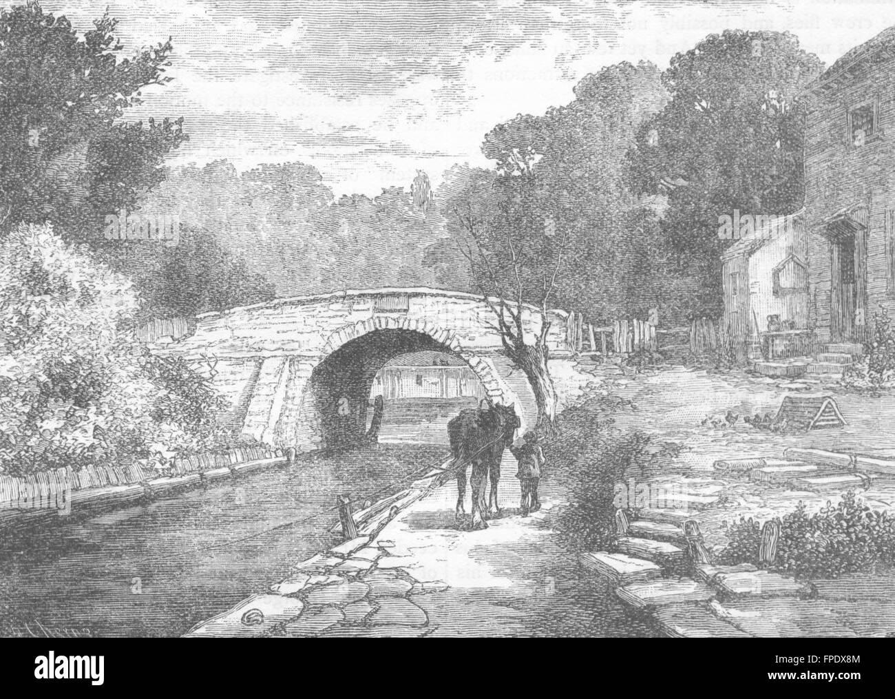 LEWISHAM: Old Sydenham Bridge, 1831, antique print 1888 - Stock Image