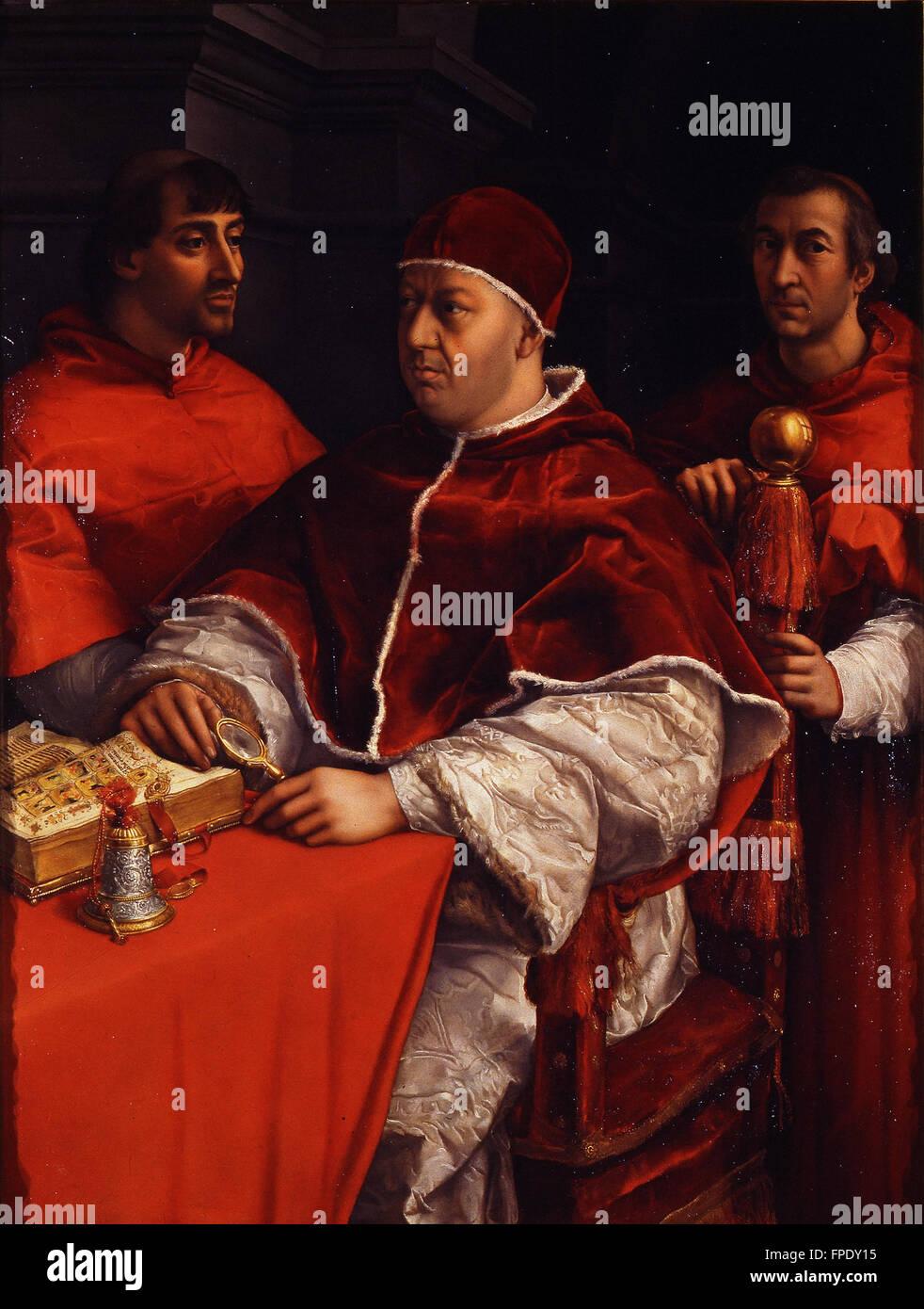 Raffaello Sanzio - Ritratto di Leone X co cardinali Giulio de' Medici e Luigi de' Rossi - Stock Image