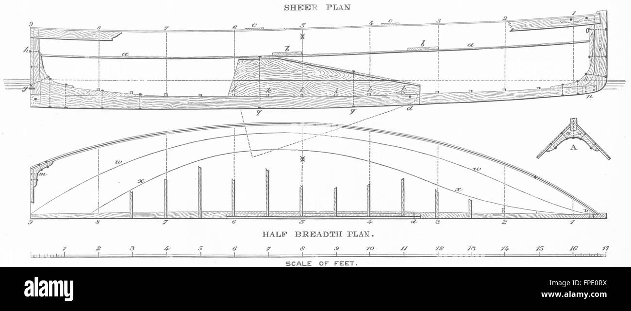 Bembridge /& Rig 1891 old antique print picture BOAT PLAN Centre-board Yacht
