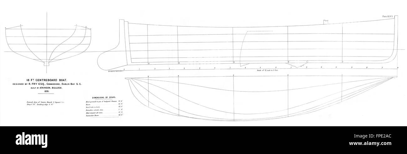 DUBLIN BAY SAILING: boat plan: Centreboard-LARGE, antique print 1891 - Stock Image