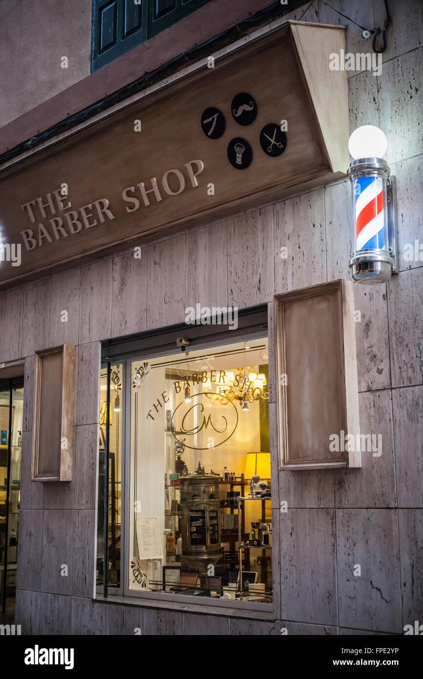 Barber shop facade.Palma de Mallorca,Balearic Islands,Spain. Stock Photo