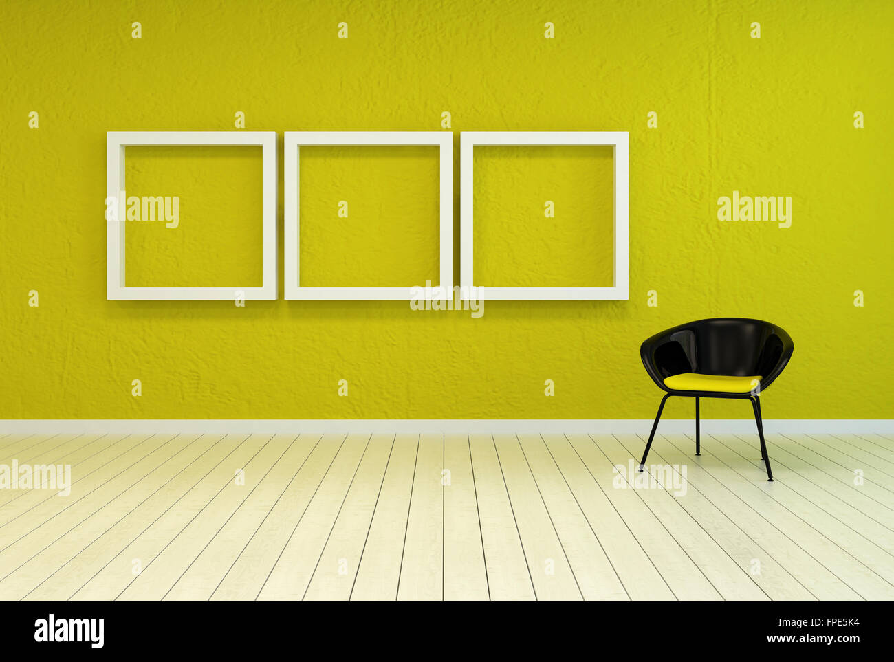 Colorful modern art gallery interior with three empty white wooden ...
