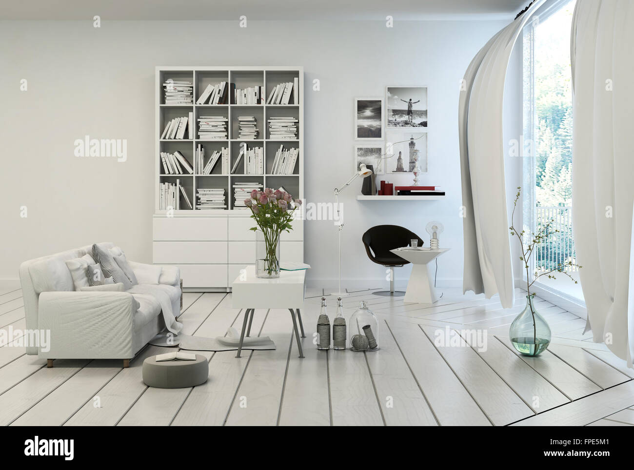 Compact modern white living room interior with white painted wooden ...
