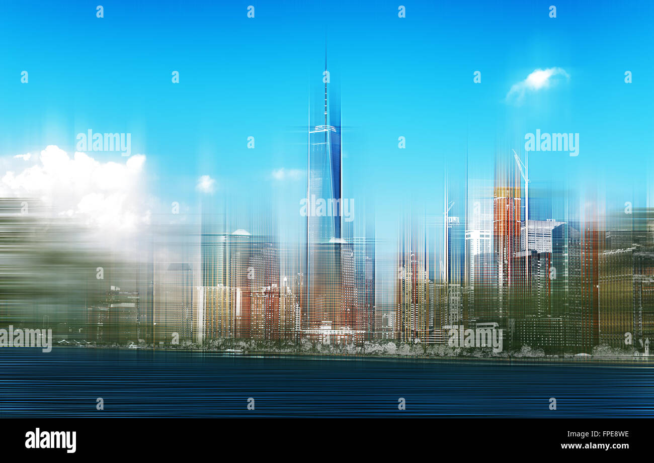 Blurred Fast Paced View of Lower manhattan City Skyline on Sunny Day Featuring One World Trade Center Building as - Stock Image