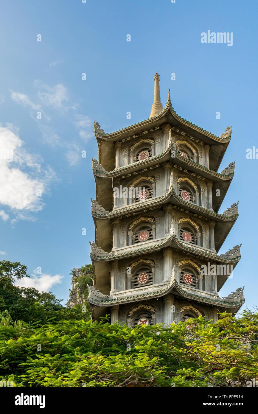 Pagoda at Marble mountains, Ngu Hanh Son ward, south of Da Nang, Vietnam - Stock Image