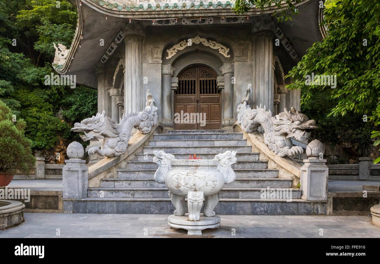 Steps and doorway to Pagoda at Marble mountains, Ngu Hanh Son ward, south of Da Nang, Vietnam - Stock Image