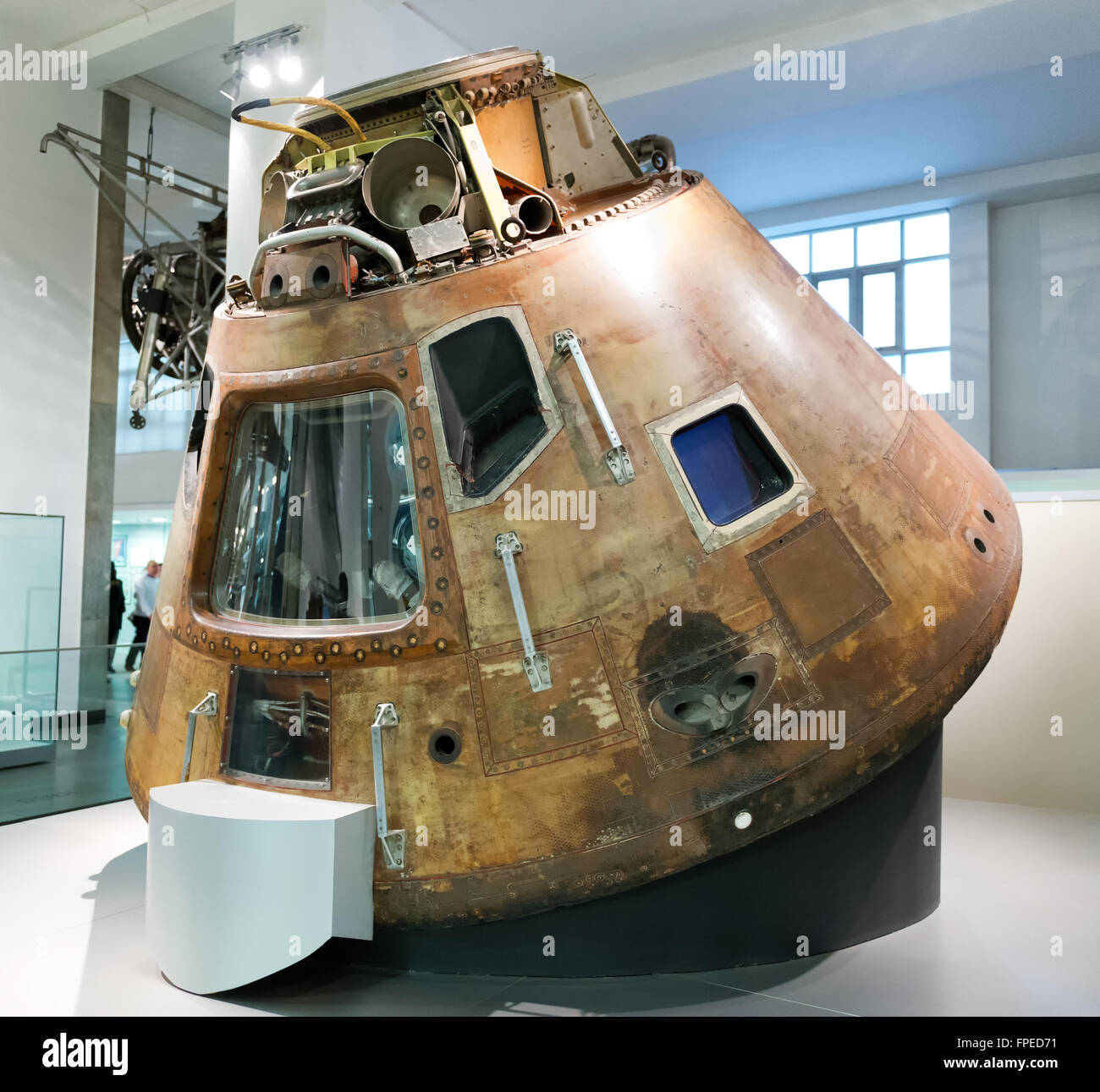 Old 1960s United States space exploration capsule known as Apollo 10 space capsule with view inside on display inside - Stock Image