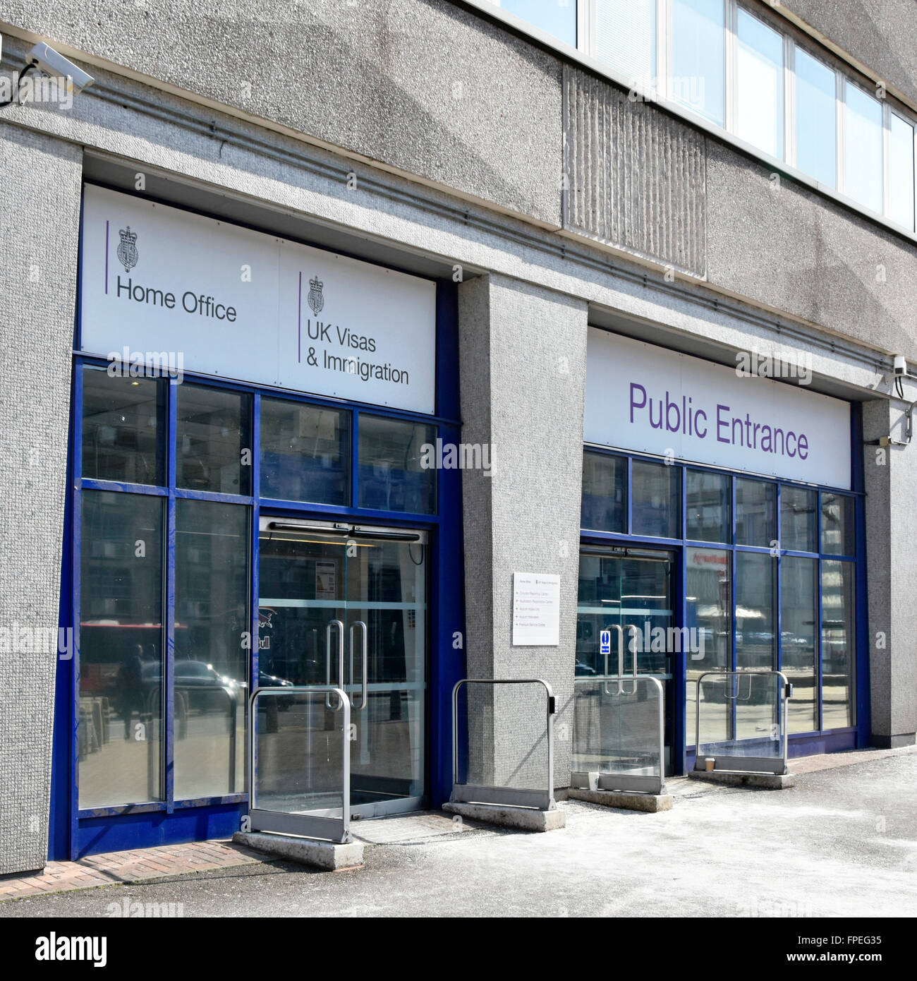 Croydon South London public entrance doors to Lunar House UK government Home Office building used by UK Visas & Stock Photo