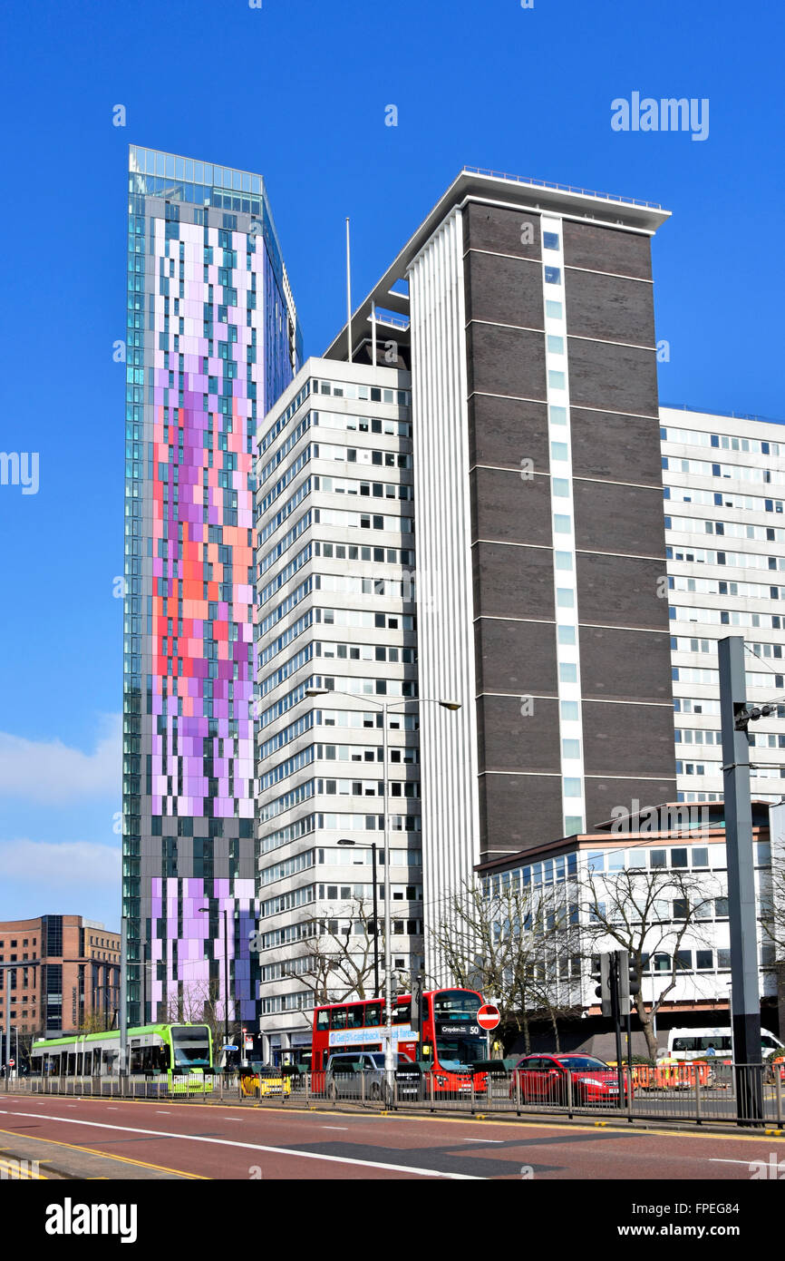 Wellesley Road dual carriageway in Croydon with tall buildings including Home Office Lunar House & new colourful - Stock Image