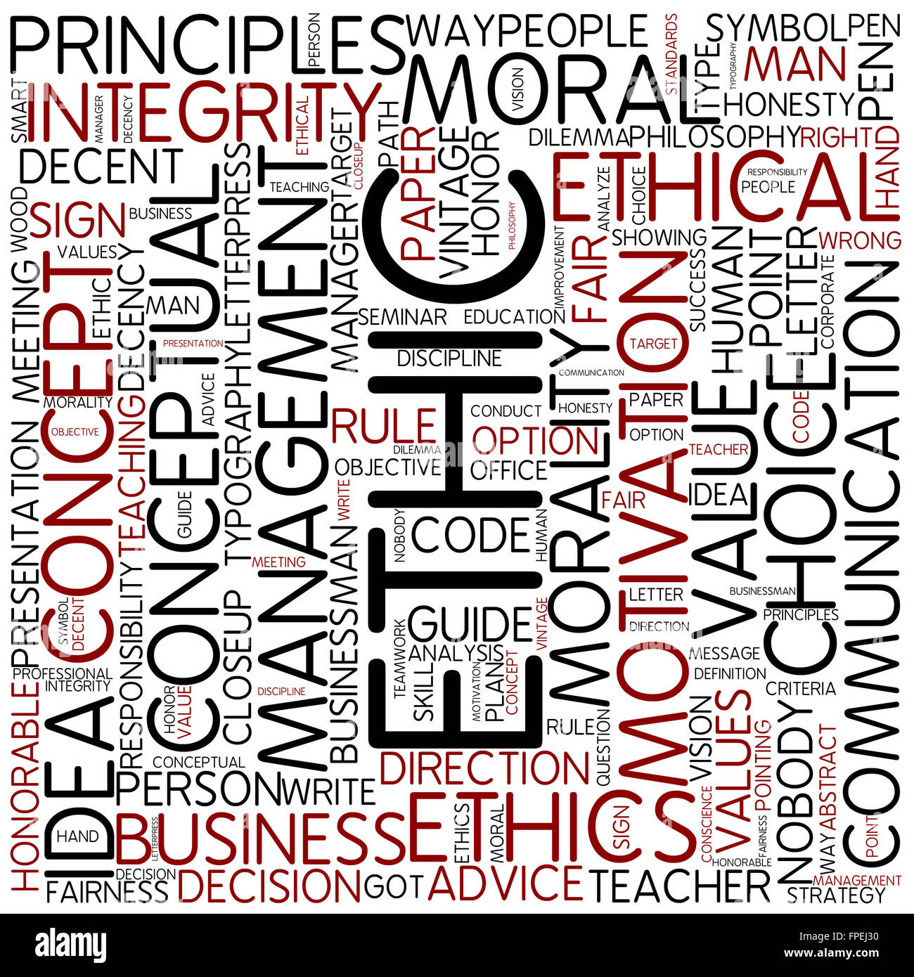 ethic concept word business ethics text idea - Stock Image