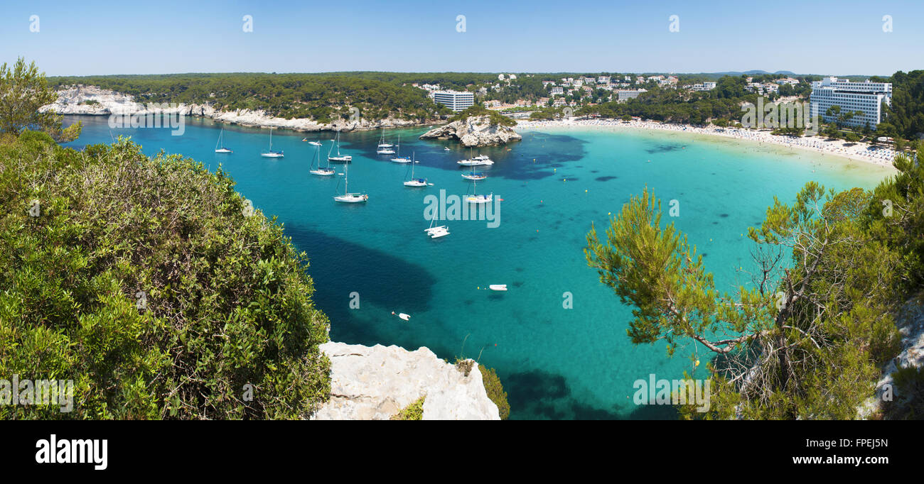 Menorca, Balearic Islands, Spain: panoramic view of the bay and beach of Cala Galdana, known as the Queen of the - Stock Image