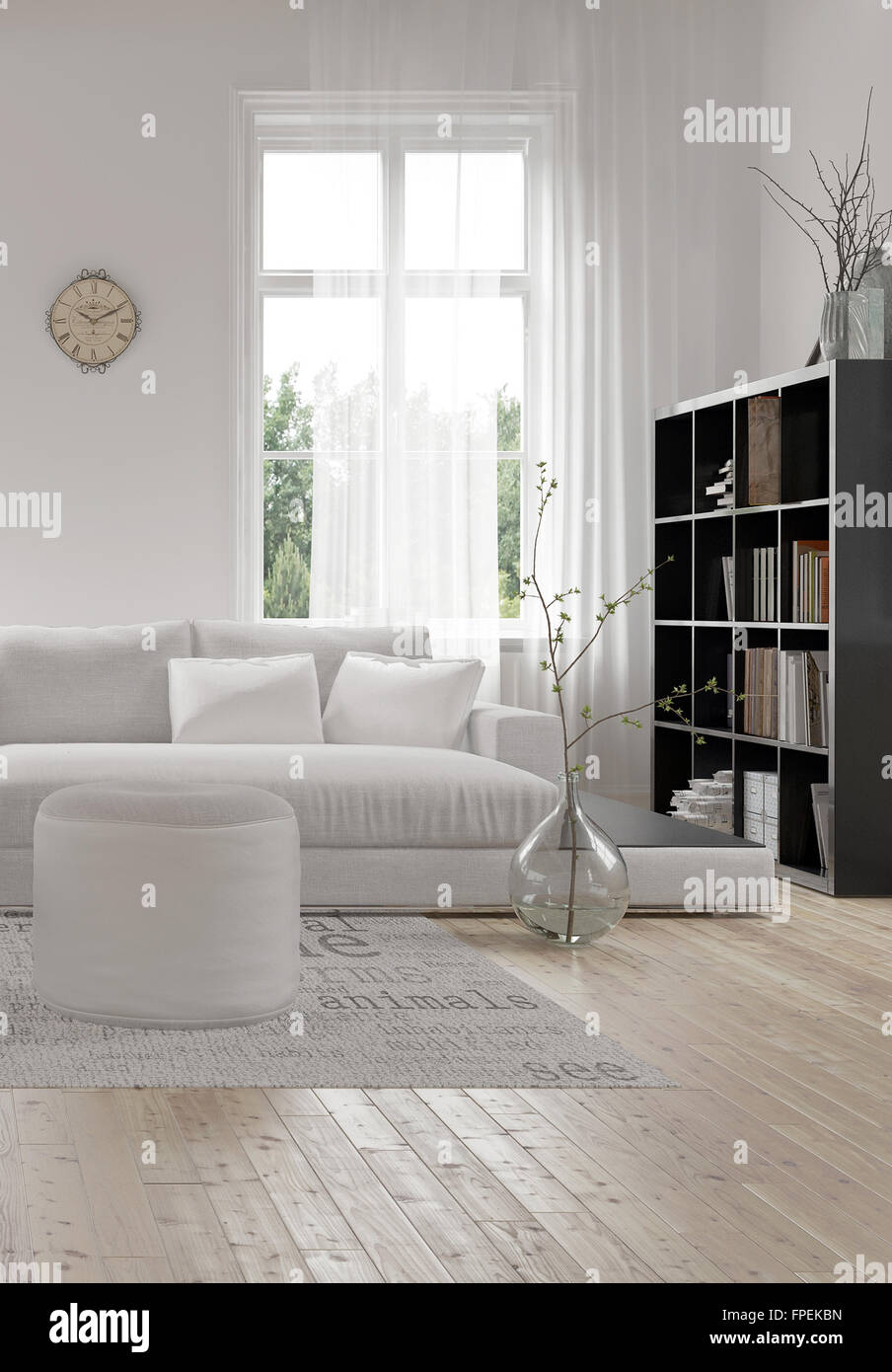 Corner Of A Comfortable White Modern Living Room With An