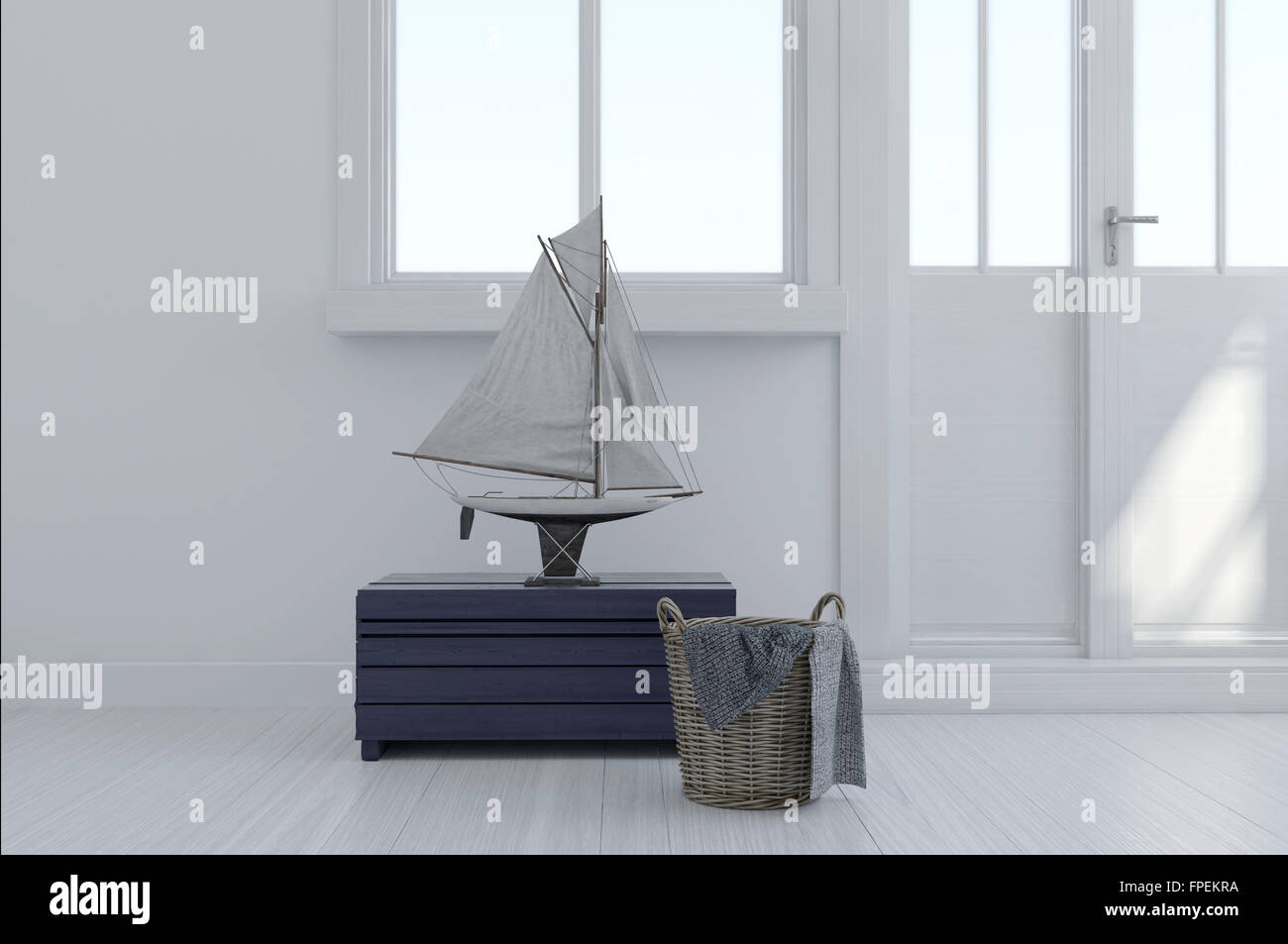 Nautical Themed Interior Decor In A Modern White Room With A