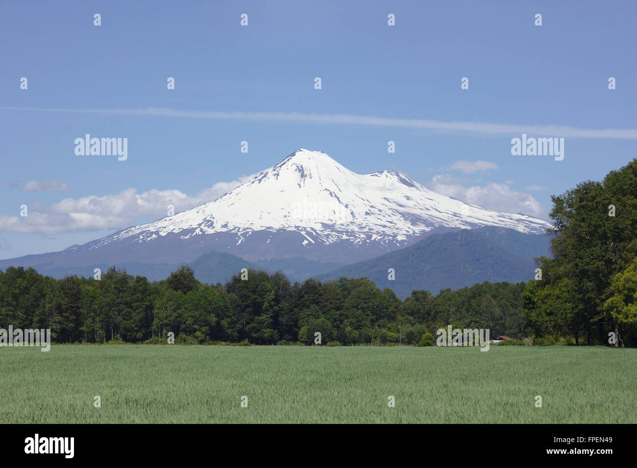 Llaima volcano from West, Lake District, Chile - Stock Image