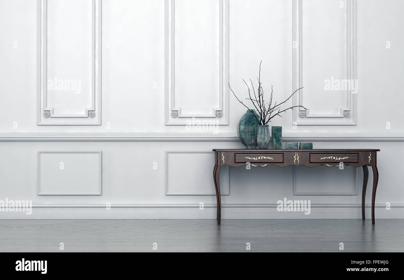 Vintage style console table in a classic living room interior Stock ...