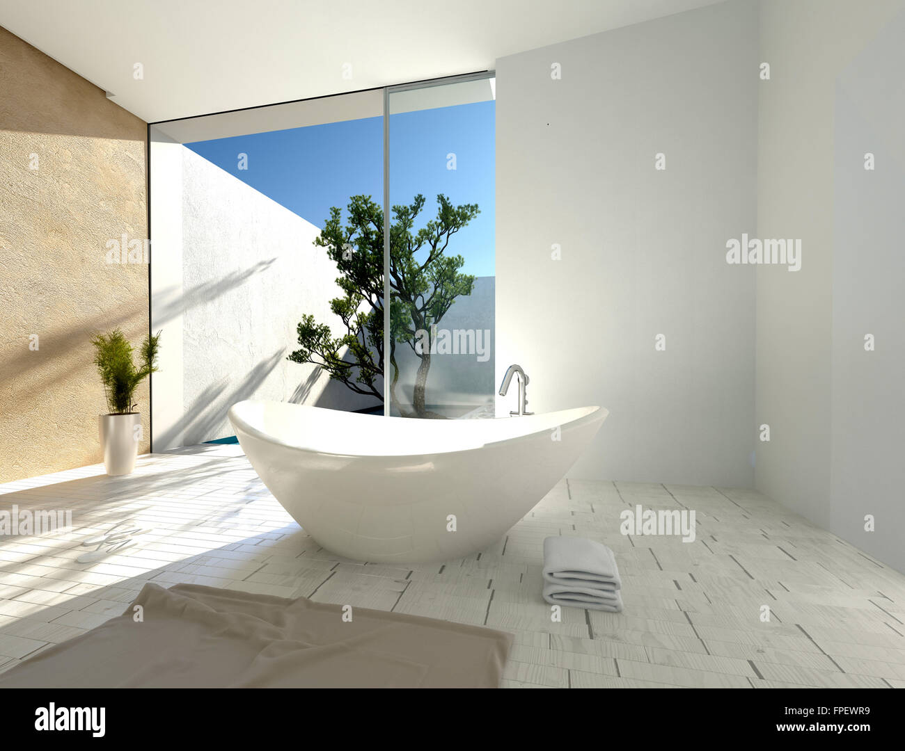 Stylish modern boat-shaped bathtub in a sunny tropical bathroom with ...