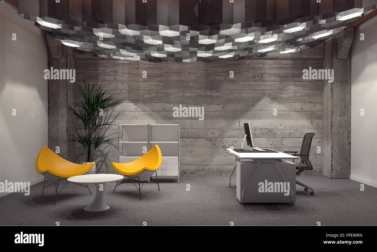 Modern corporate office interior for a CEO with grey brick walls ...