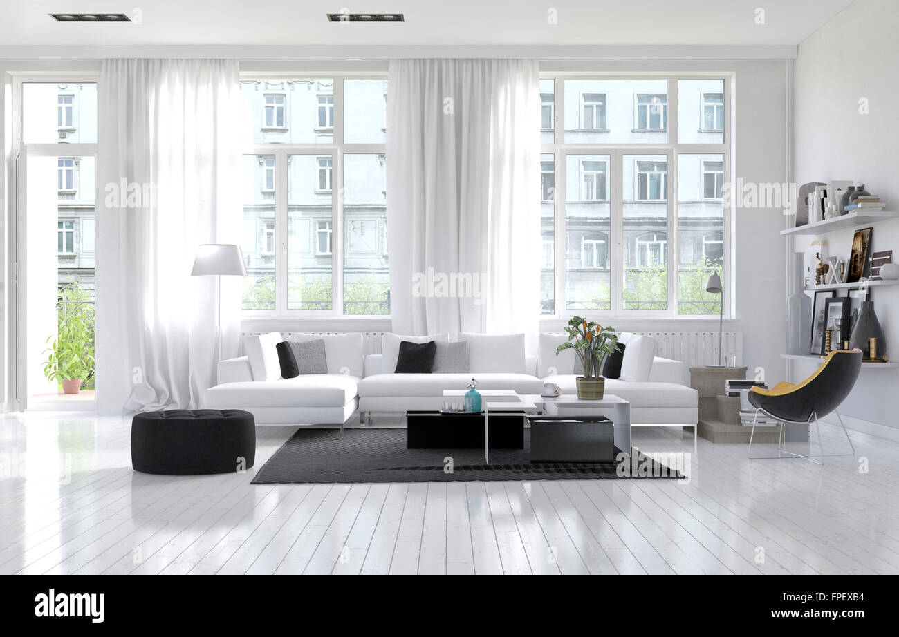 Large spacious modern white living room interior with a white ...