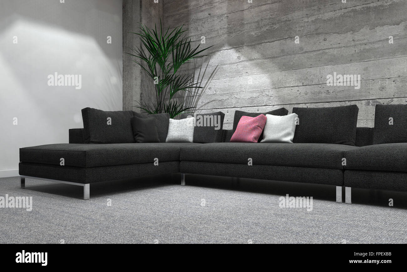 Comfortable Sectional Sofa In Modern Room With House Plant ...