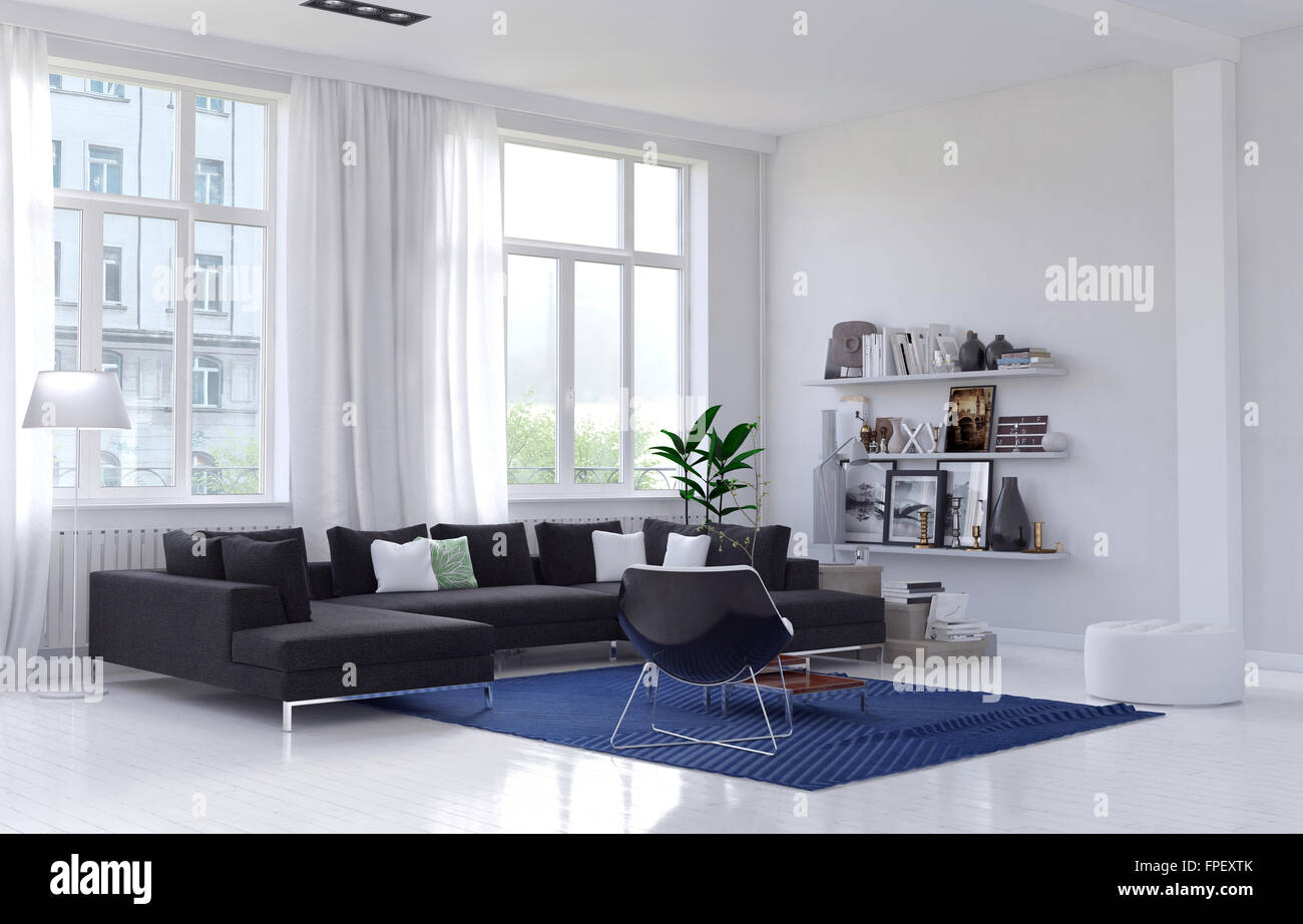 Spacious bright sunny living room interior with a comfortable Stock ...