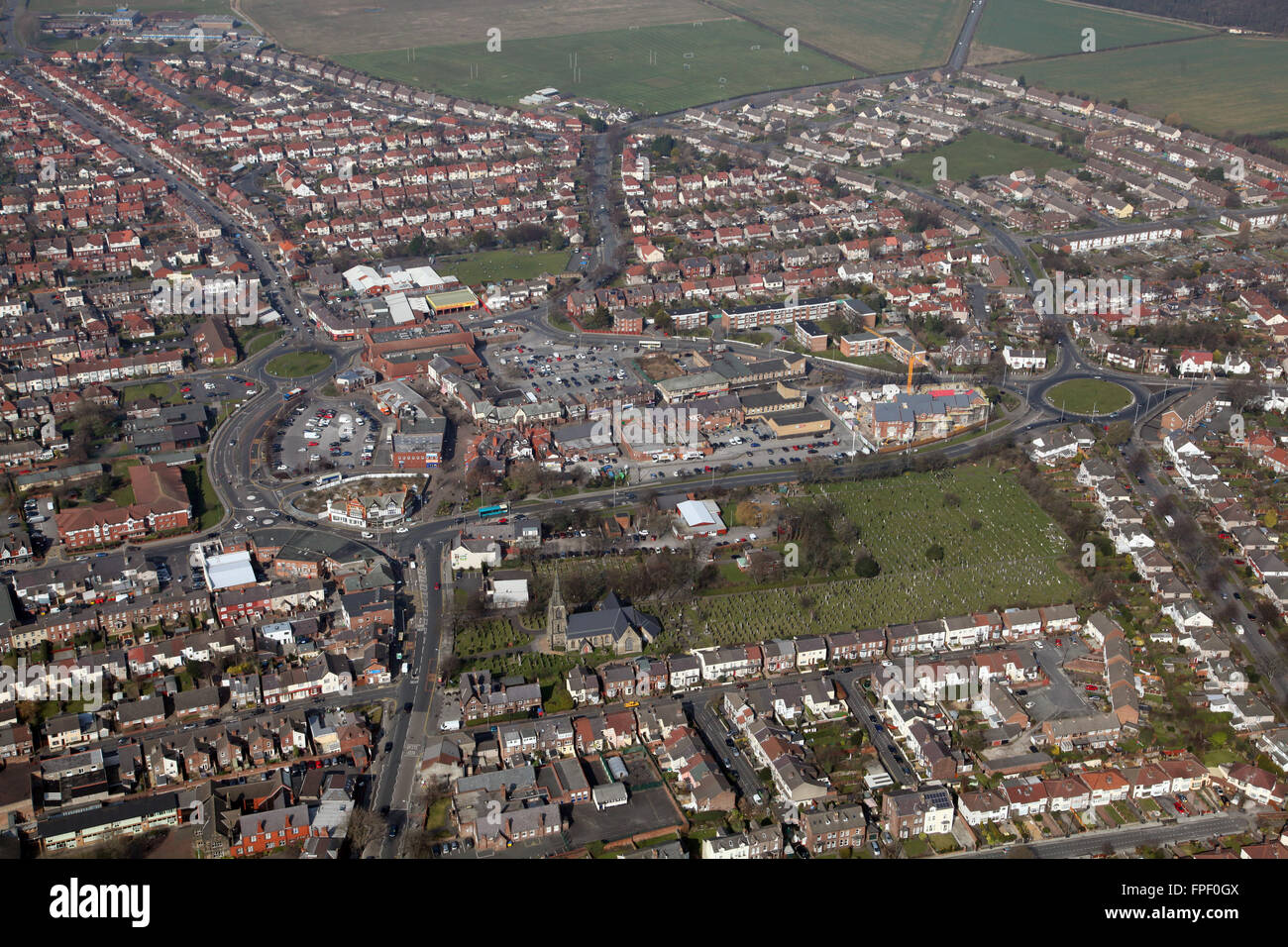 aerial view of Crosby town centre, Liverpool, Merseyside, UK - Stock Image