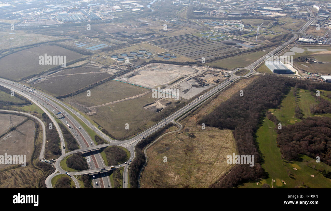 aerial view of Junction45 of the M1 and Pontefract Lane running west to Leeds, UK - Stock Image