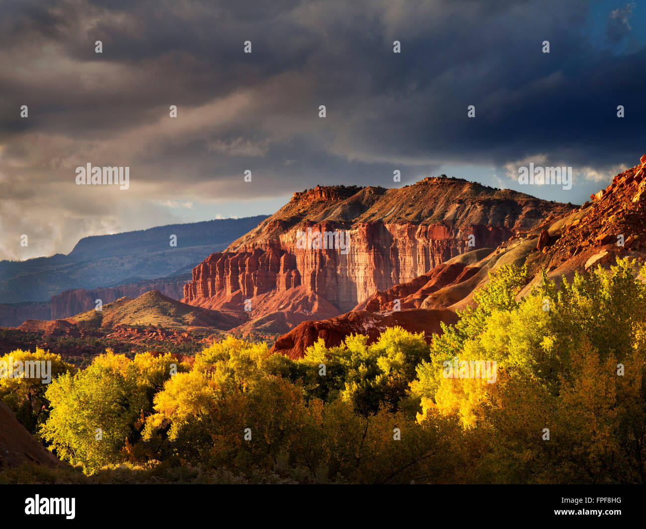 Fall colored Cottonwood Trees and rock formations with storm clouds. Capitol Reef National Park, Utah - Stock Image