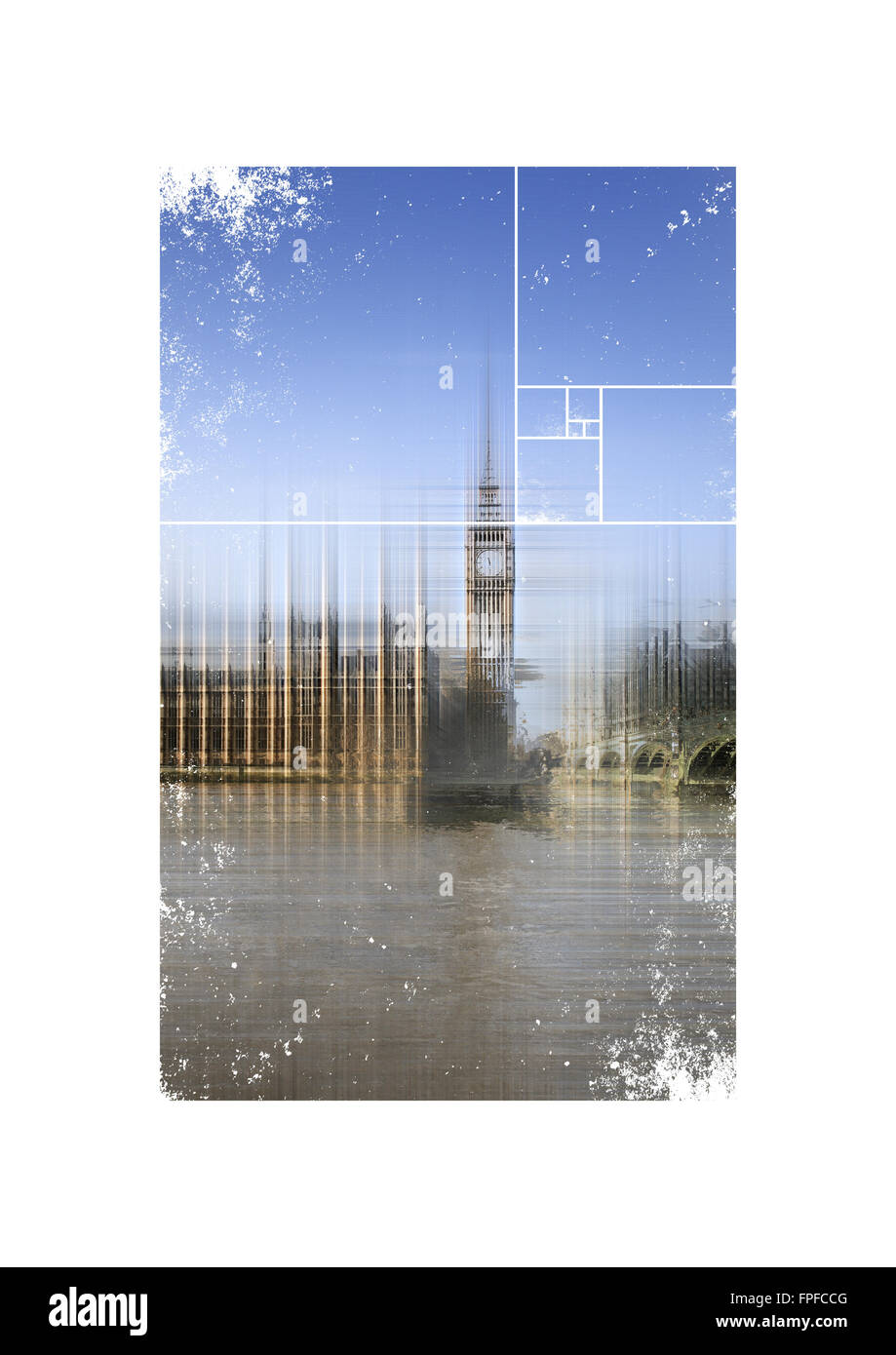 Blurred View of Big Ben Clock Tower and Palace of Westminster Parliament Building from Thames River in London, England - Stock Image