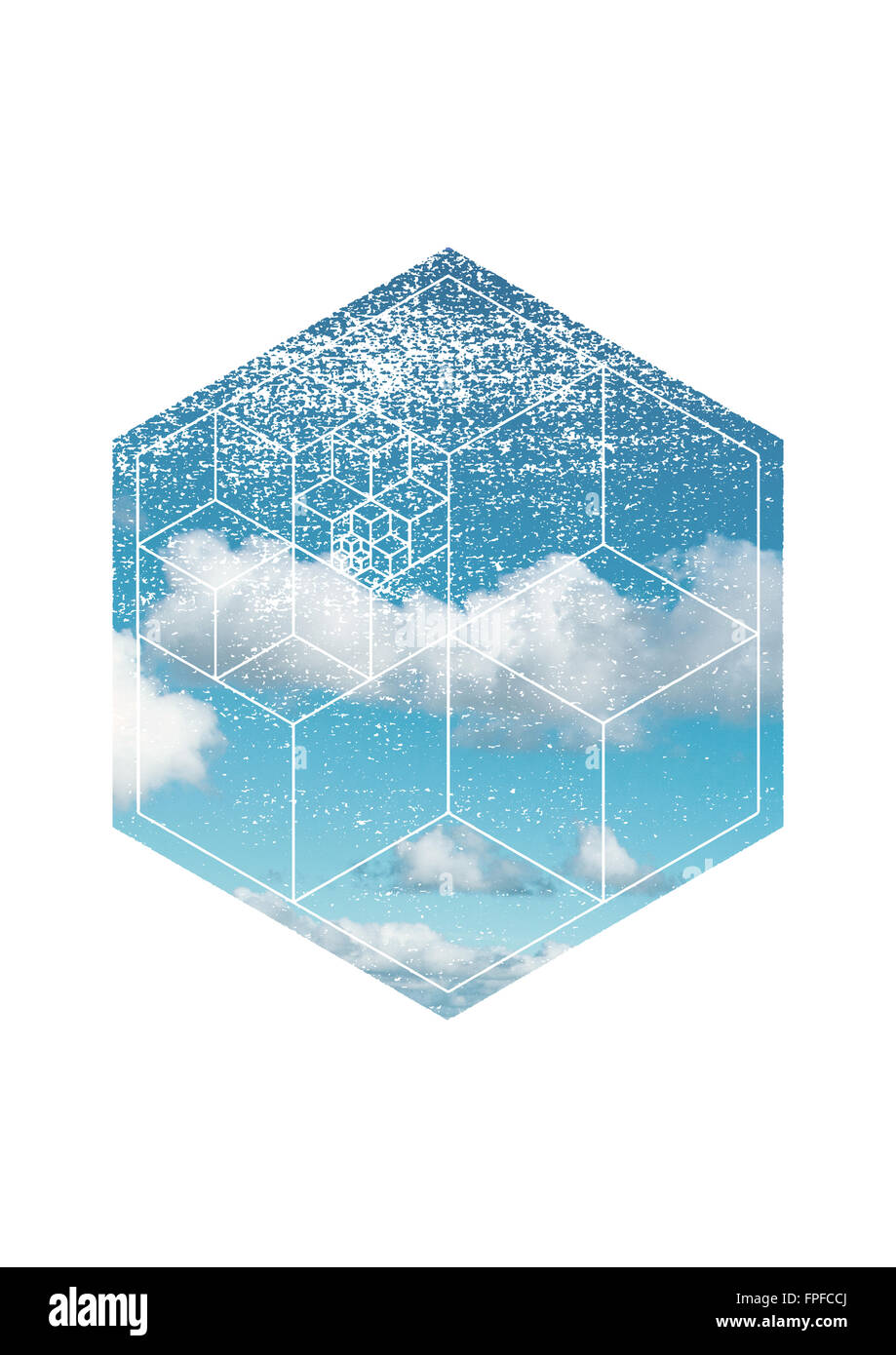 Scenic Skyscape - Blue Sky with White Fluffy Clouds on Bright Day with Hexagon Overlay and Intersecting Geometric - Stock Image