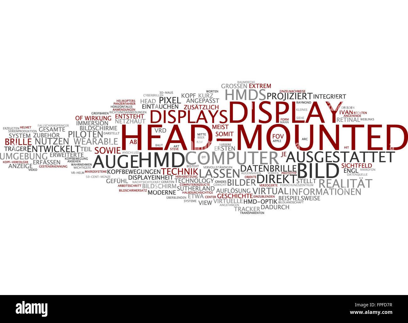 Head-mounted display head mounted bild bildschirm Stock Photo