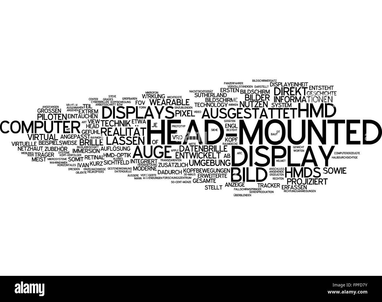 Head-mounted display head mounted bild bildschirm - Stock Image
