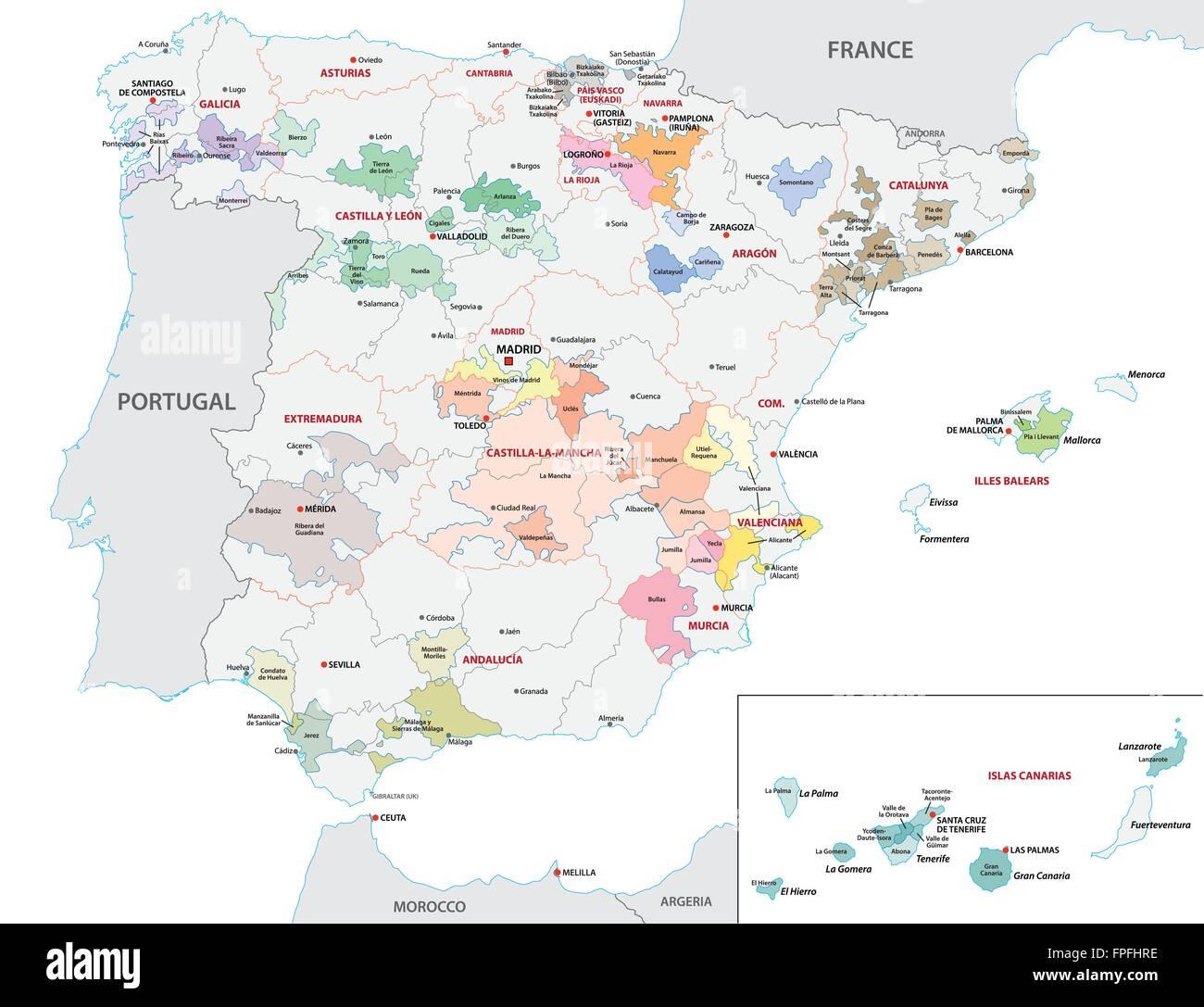 Map Of Spain By Region.Spain Wine Region Map Stock Vector Art Illustration Vector Image
