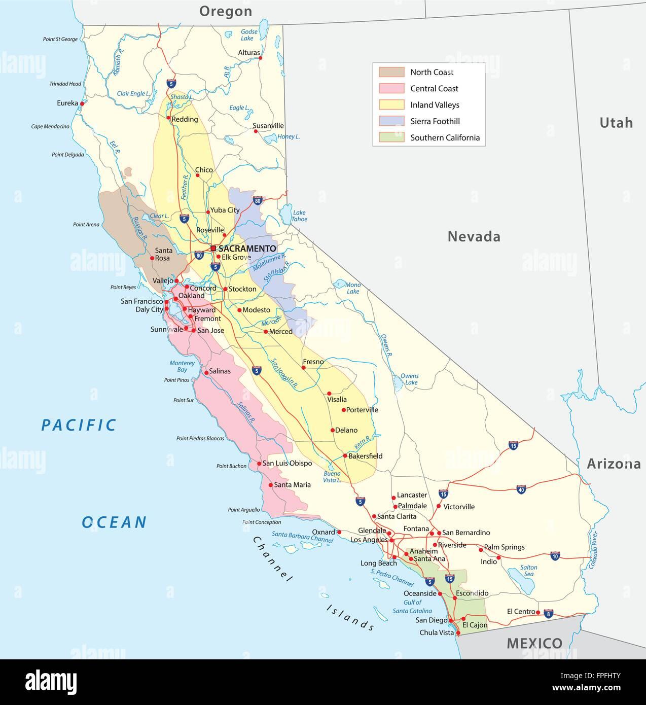 california's wine-growing regions map - Stock Vector