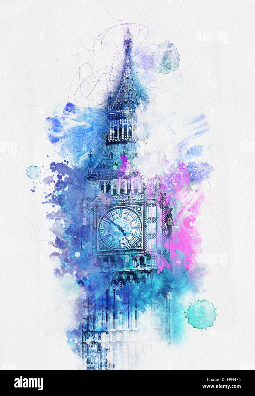 colorful watercolor of the top of the big ben clock tower london
