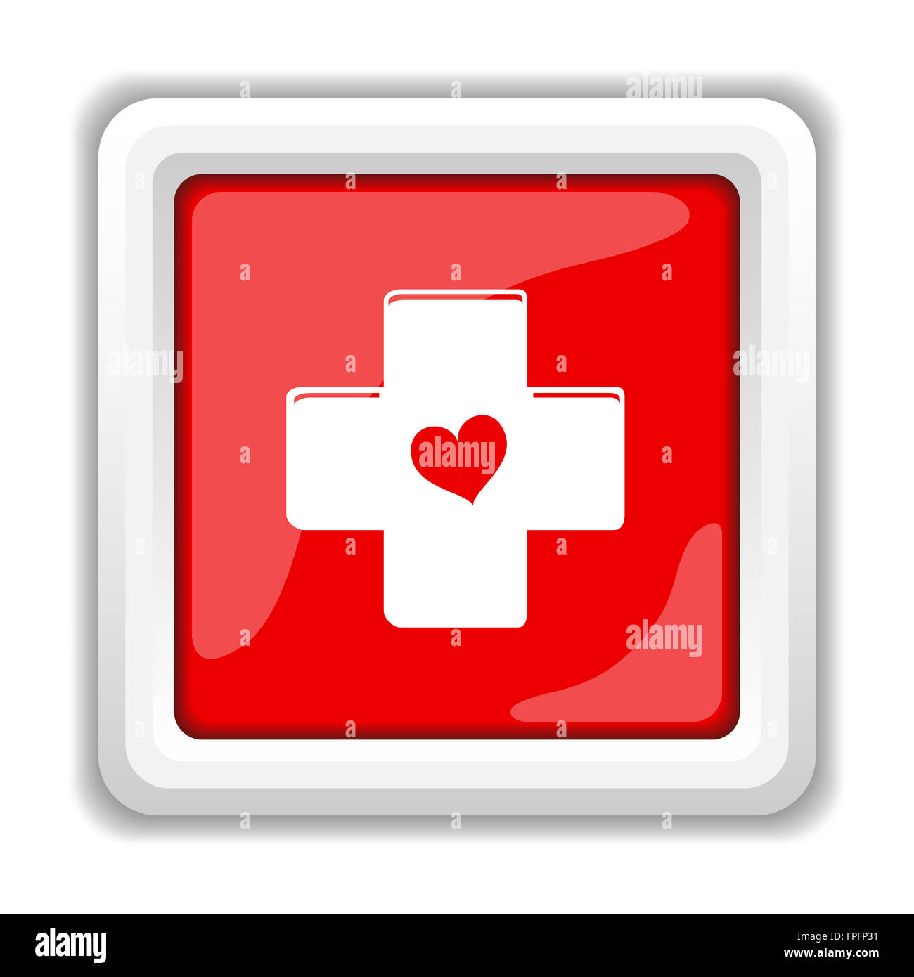 cross with heart icon internet button on white background stock