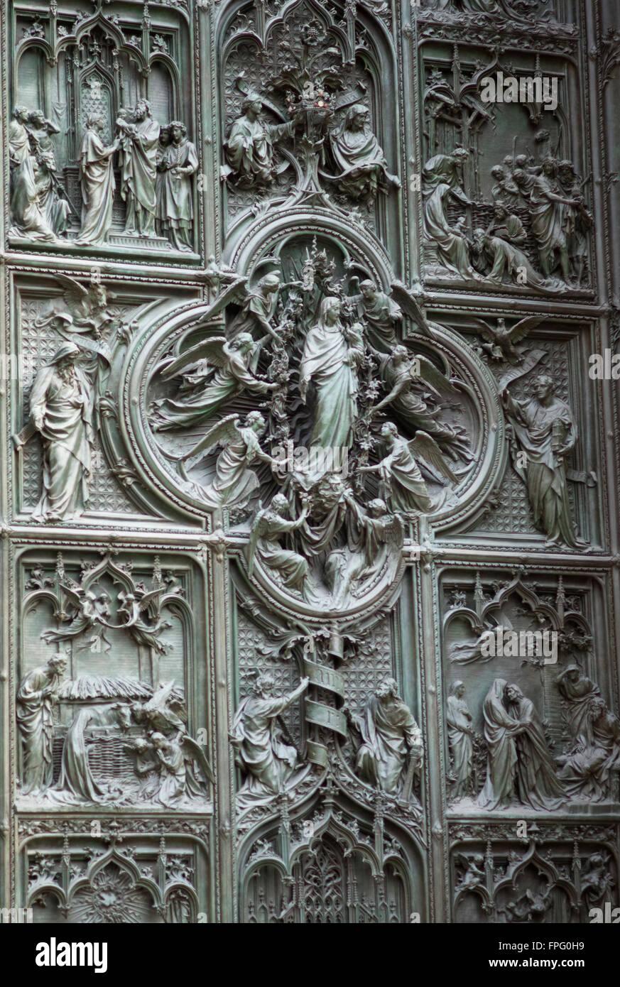 Milan Cathedral main door detail - Stock Image