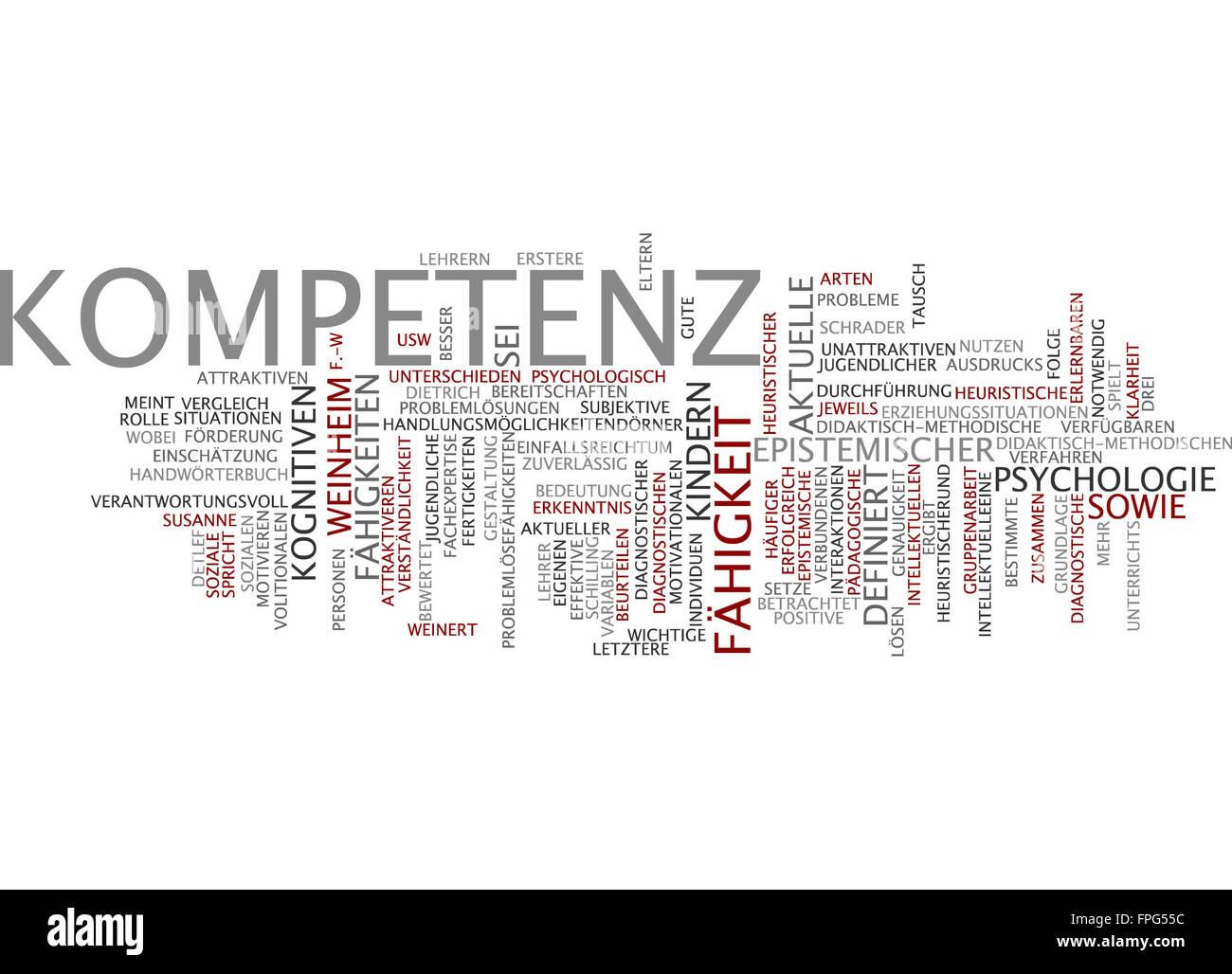 Kompetenz psychologie fähigkeit fähigkeiten Stock Photo