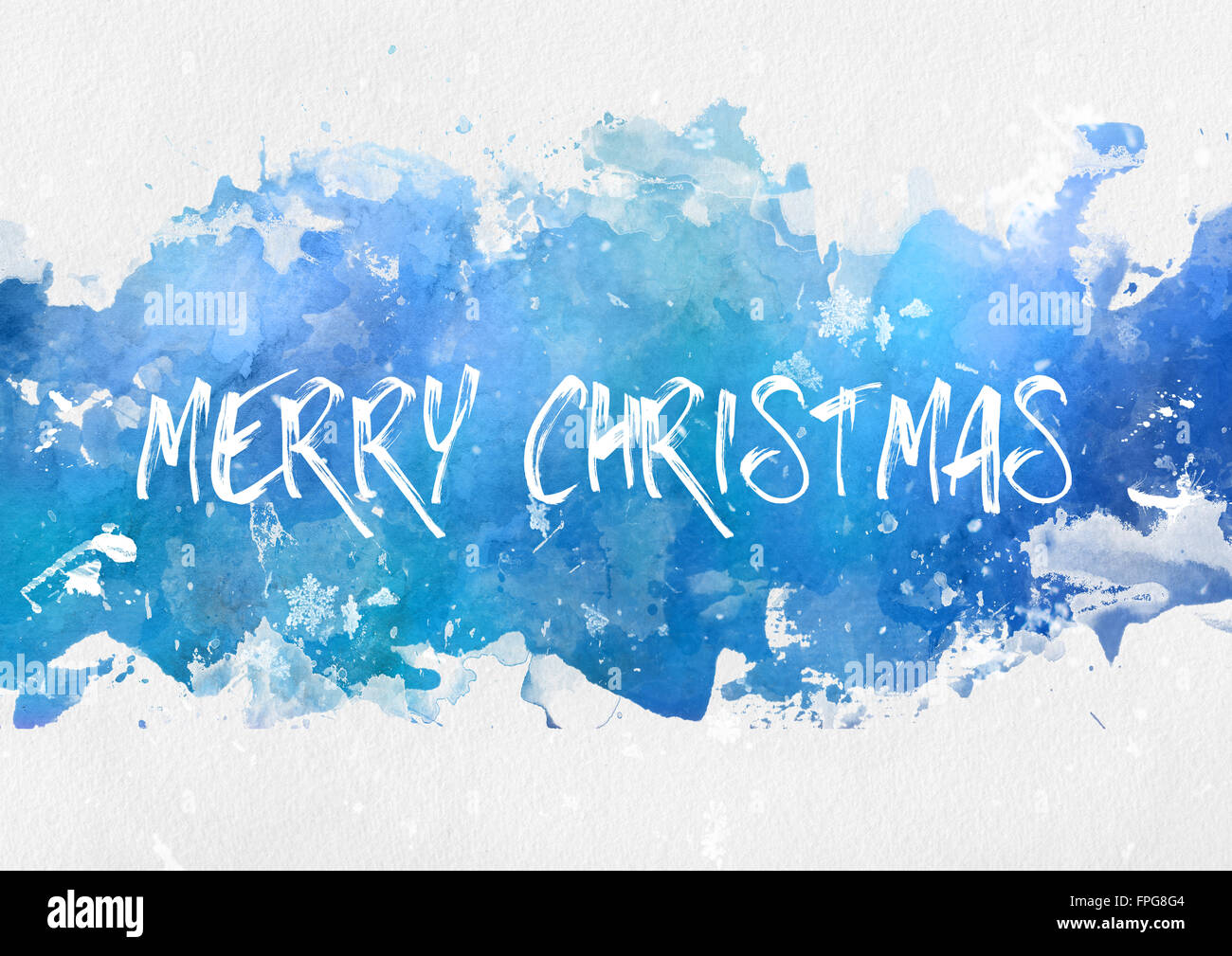 Cool blue winter splash effect Merry Christmas paint background with ...
