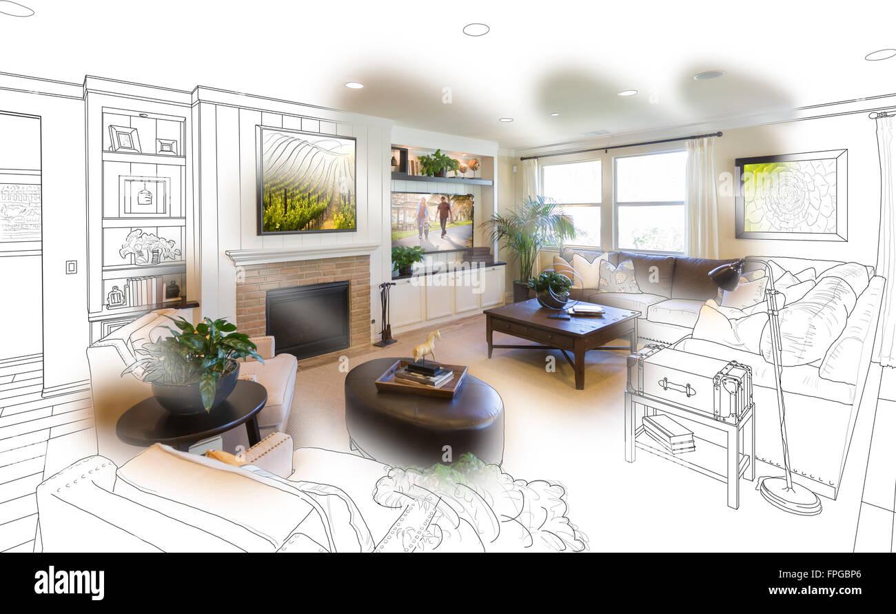 Custom Living Room Drawing Gradation Stock Photos & Custom Living ...