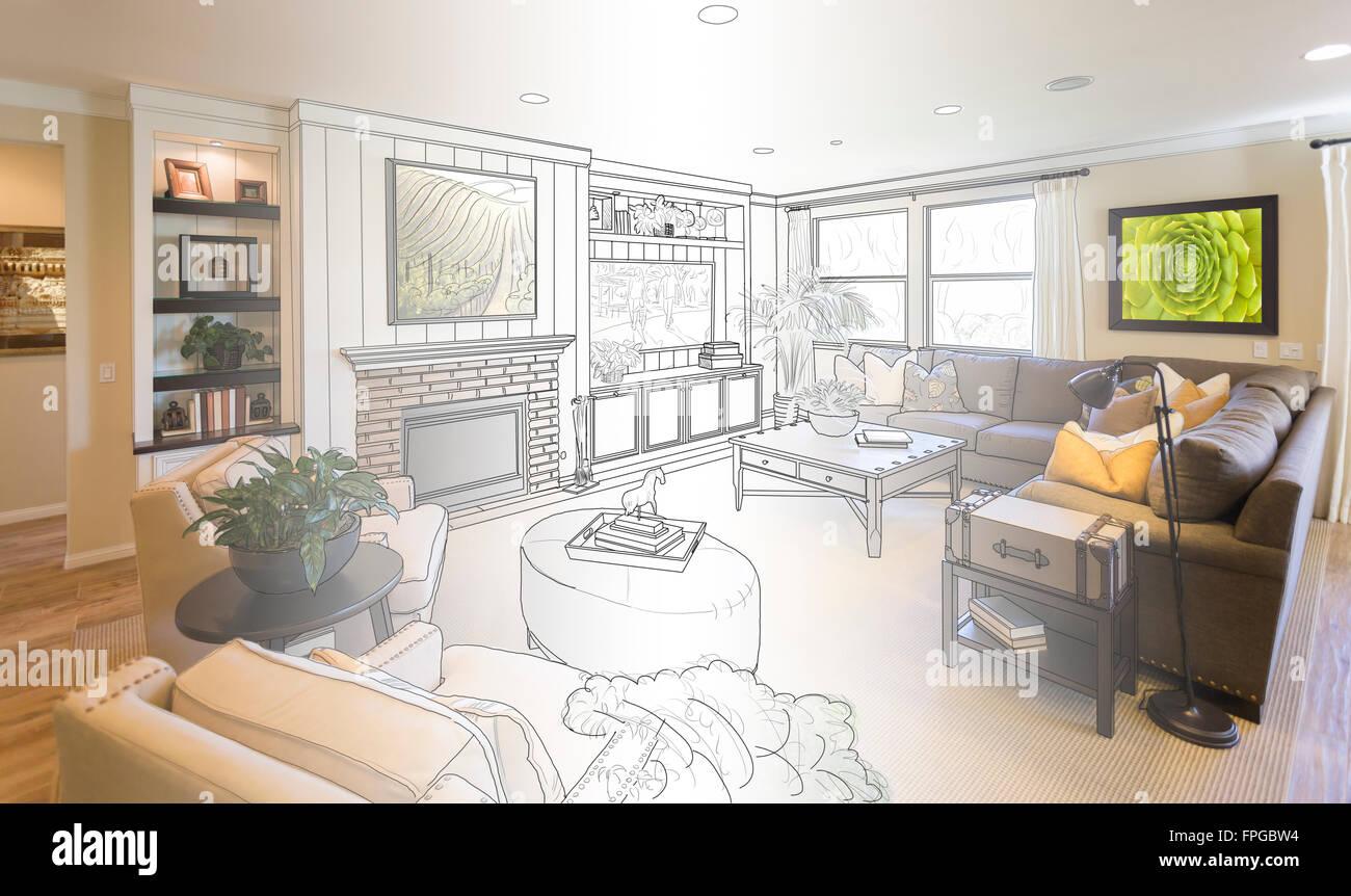 Custom Living Room Drawing Gradation Into Photograph Stock Photo ...