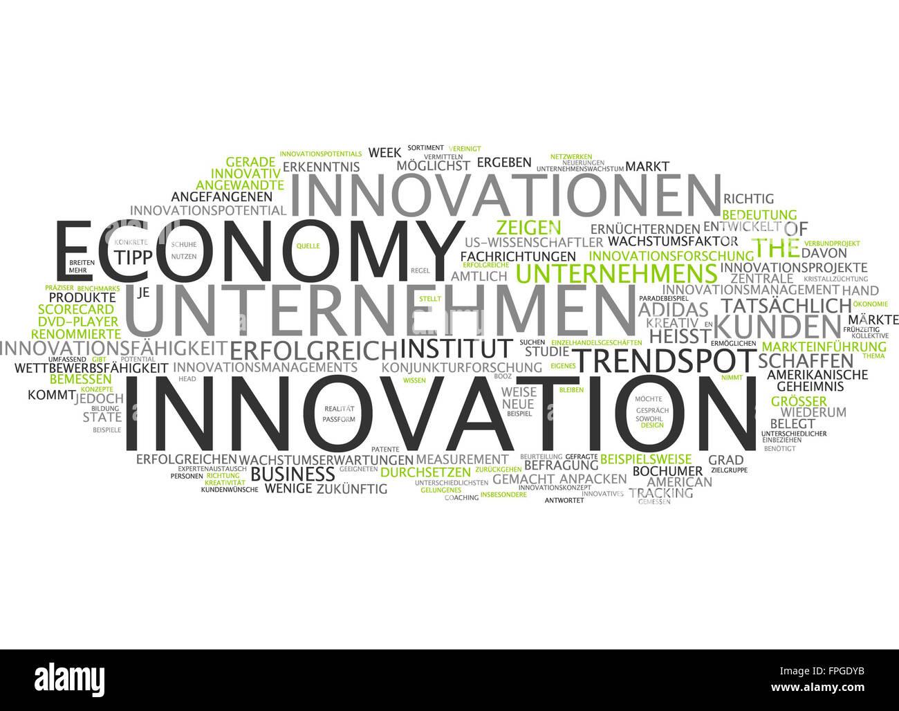 innovation economy innovationen unternehmen - Stock Image