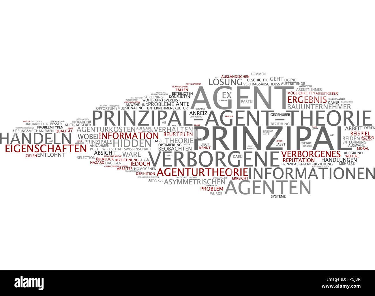 Prinzipal-Agent-Theorie Prinzipal Agent Theorie Stock Photo